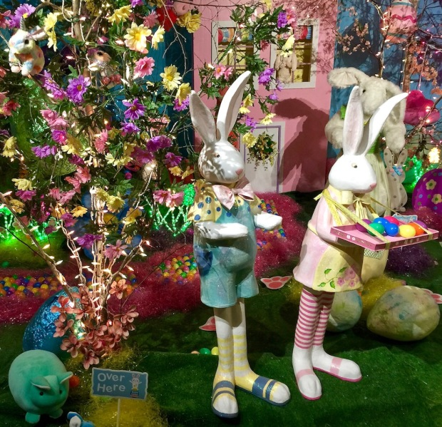 elaborate diorama of Easter bunnies at Kraynak's Easter Bunny Lane, Hermitage, PA