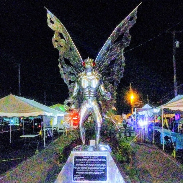 statue of The Mothman in Point Pleasant, WV