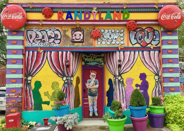 elaborately painted former storefront, now Randyland, in Pittsburgh, PA