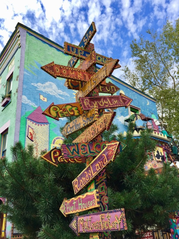 direction signs outside Randyland, Pittsburgh, PA