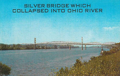 postcard image of the former Silver Bridge connecting Point Pleasant, WV to Ohio