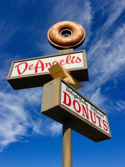 large elevated sign for DeAngelis Donuts, Rochester, PA