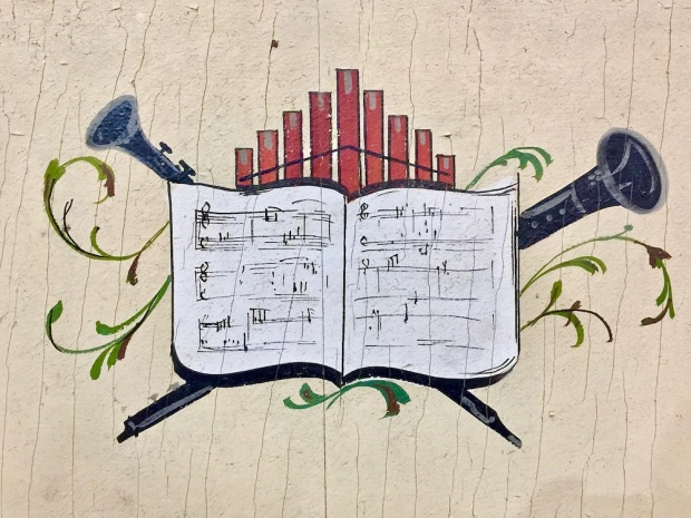 painted detail on band organ frame at DeBence Antique Music World