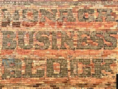 "ghost sign reading ""Monaca Business Block,"" Monaca, PA"