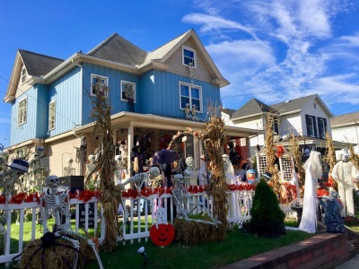 elaborate Halloween decorations on house and yard in Monaca, PA