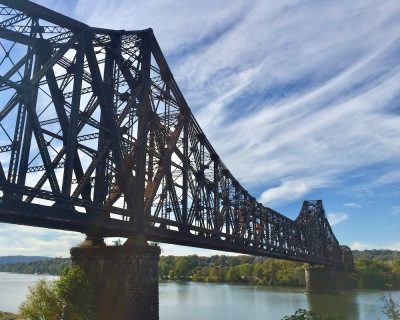 View of the Ohio River and train bridge from Monaca, PA