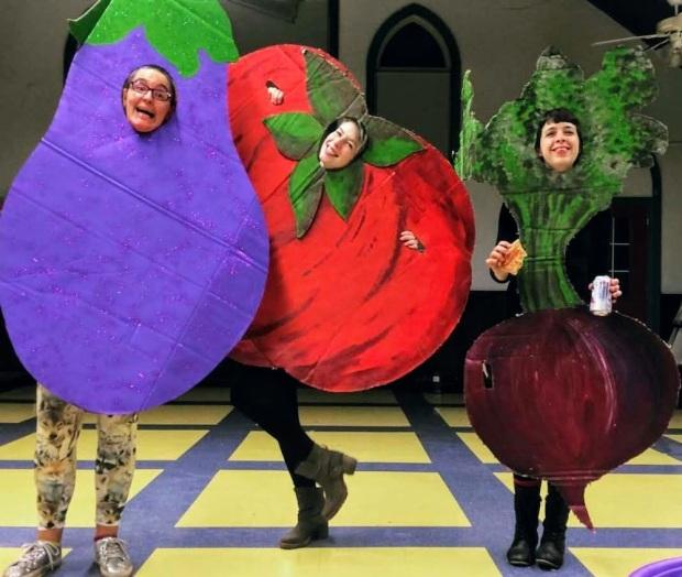actors wearing costumes of vegetables