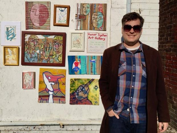 "artist John Lee (aka ""Clohn Art"") with Honor System Art Gallery, Pittsburgh"