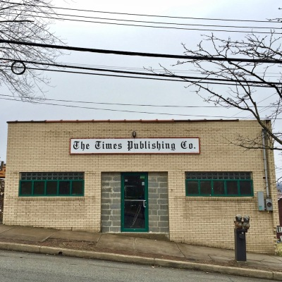 "brick building with sign reading ""The Times Publishing Co."", Duquesne, PA"