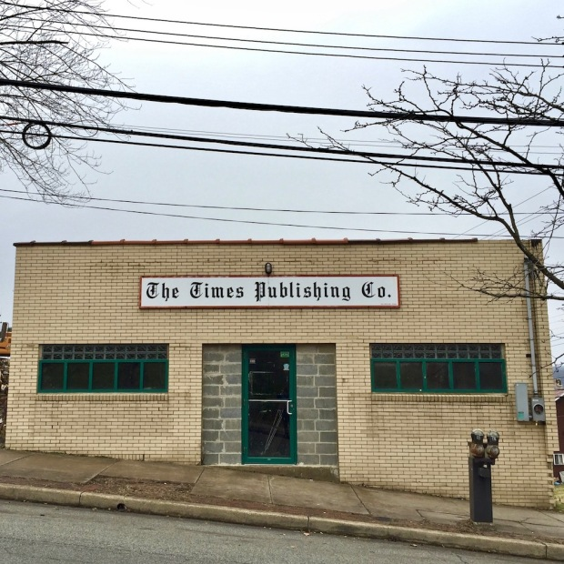 """brick building with sign reading """"The Times Publishing Co."""", Duquesne, PA"""