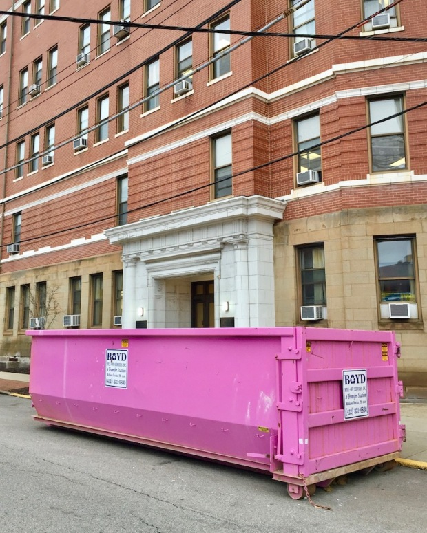 pink dumpster in front of hospital entrance