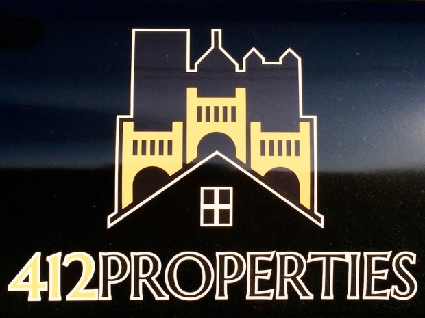 logo for 412 Properties including the Pittsburgh skyline