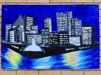 painting of downtown Pittsburgh at night