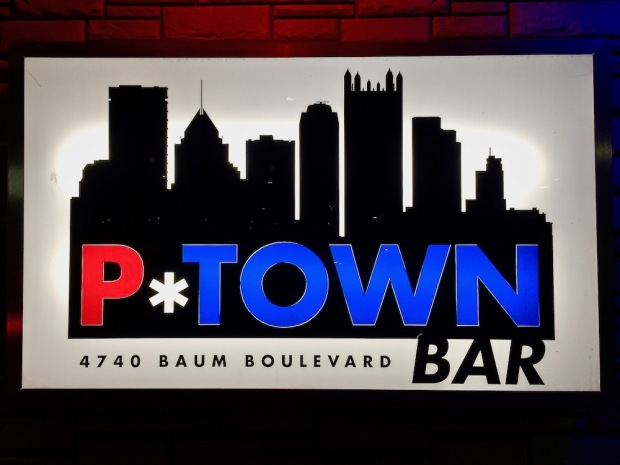 P*Town Bar sign including the Pittsburgh skyline