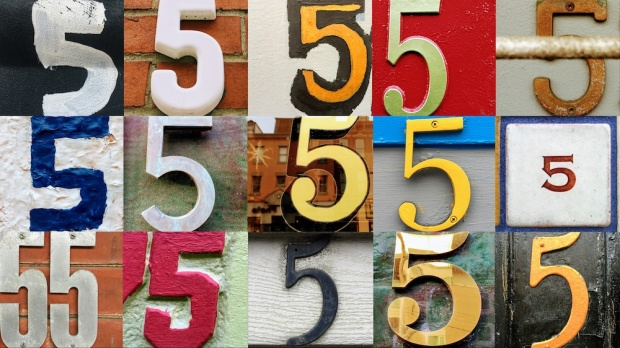 photo collage of numeral 5 found in address signs