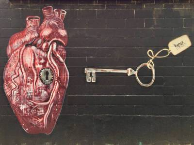 mural by Jeremy Raymer including a heart with keyhole and key