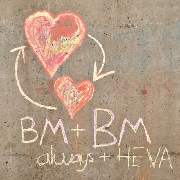 """chalk written message including two hearts and the message """"BM + BM: always + 4EVA"""""""