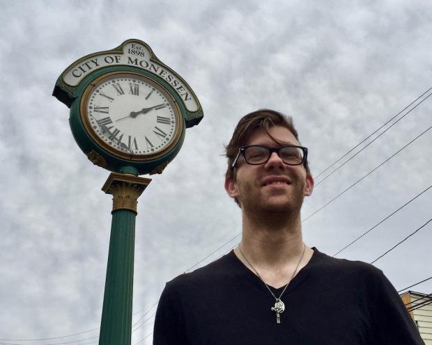 City of Monessen mayor Matthew Shorraw in front of downtown clock