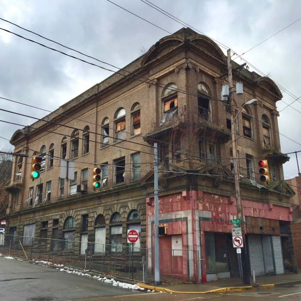 large ornate building in bad condition
