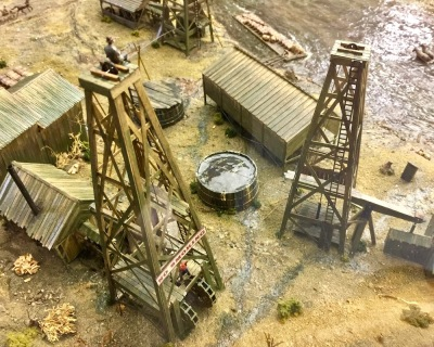 diorama of oil drilling on Oil Creek, Pennsylvania