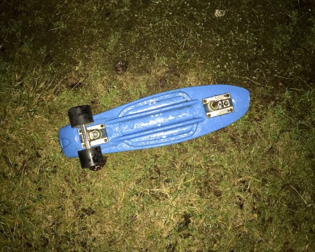 skateboard missing two wheels left in rainy grass