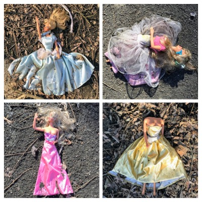 collage of Barbie dolls in fancy dresses