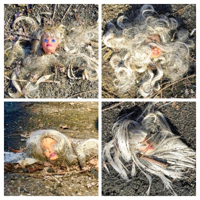 collage of blond Barbie doll heads on pavement