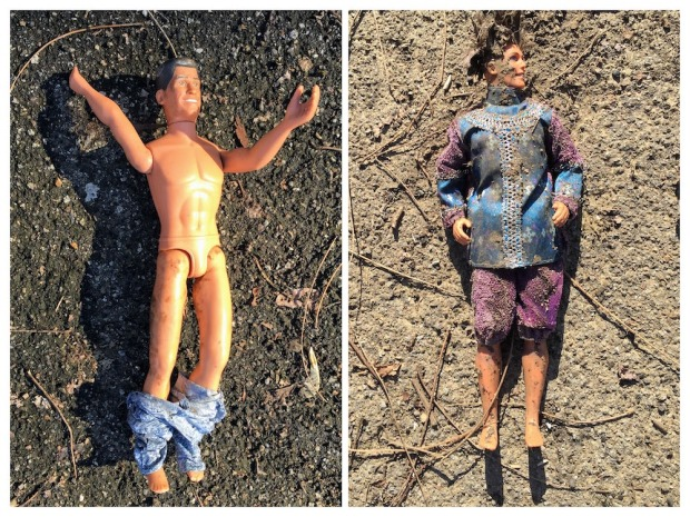 collage of Ken dolls resting on dirt