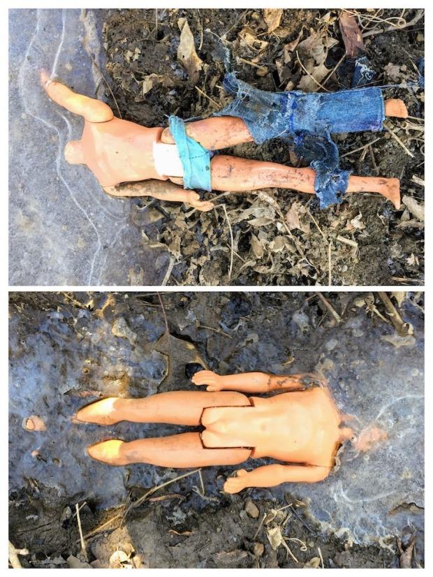 collage of Ken dolls frozen in an icy creek