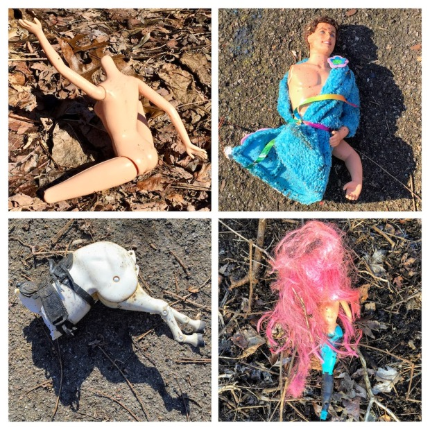collage of broken dolls found in the woods