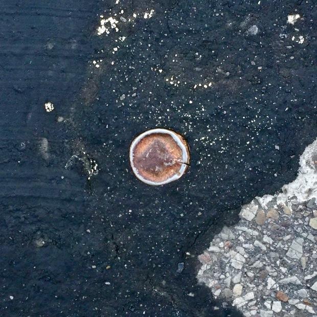 bottle cap embedded in road tar