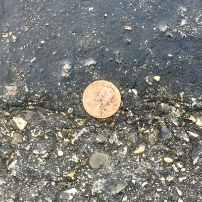 penny embedded in road tar