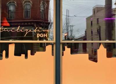 window painting for Civilization PGH including an abstract skyline