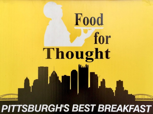 tent sign for For for Thought deli including the Pittsburgh skyline