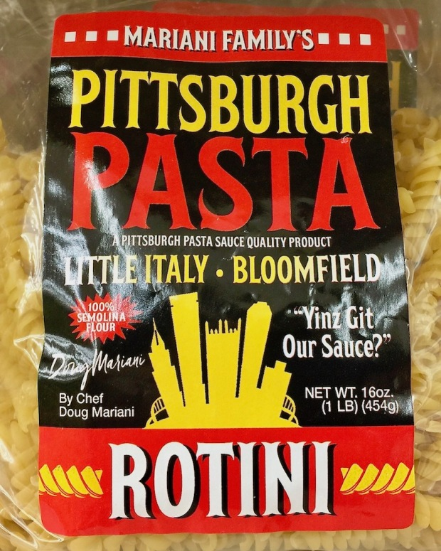 label for bag of Pittsburgh Pasta rotini including a drawing of the downtown Pittsburgh skyline