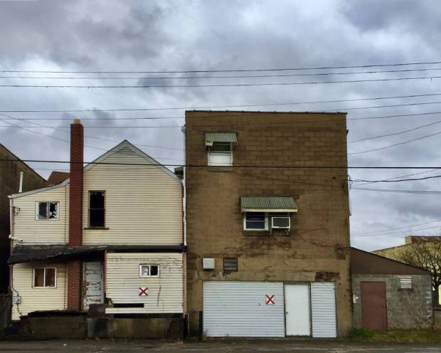 """older buildings with red """"X"""" for demolition, New Kensington, PA"""