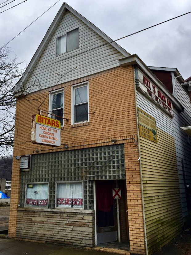 """former Syrian restaurant marked with red """"X"""" for demolition, New Kensington, PA"""