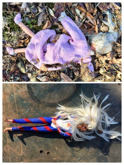 Barbie dolls dressed in bathrobe and exercise outfit