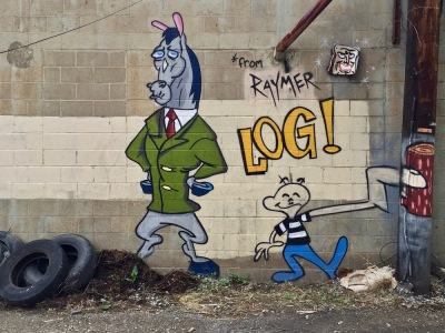 mural of cartoon horse wearing suit by artist Jeremy Raymer