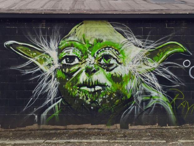 mural of Yoda painted by artist Jeremy Raymer