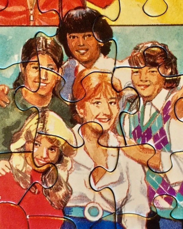 """detail of """"The Eighties"""" puzzle showing illustration of characters from 80s TV show """"The Facts of Life"""""""