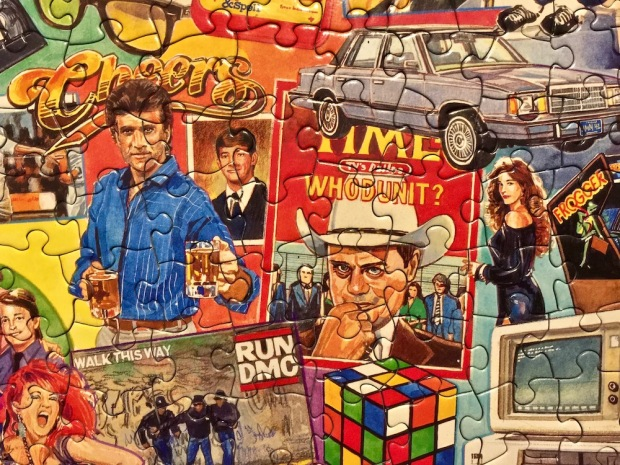 detail from jigsaw puzzle with pop culture images of the 1980s