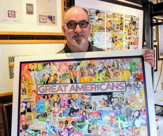 """artist Jim Mellett with his original artwork for the jigsaw puzzle """"Great Americans"""""""