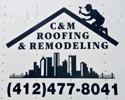logo for C&M Roofing & Remodeling including image of downtown Pittsburgh skyline