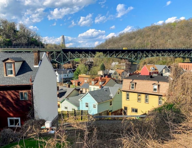view of Pittsburgh's Greenfield neighborhood from above