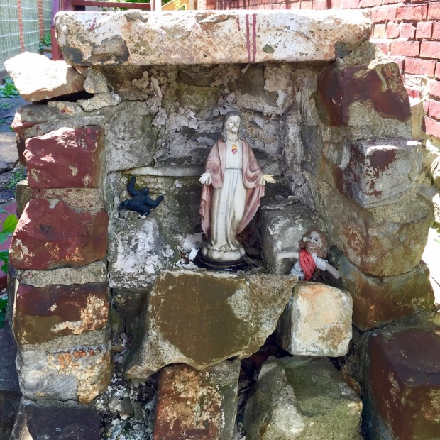 brick grotto created for statue of Mary