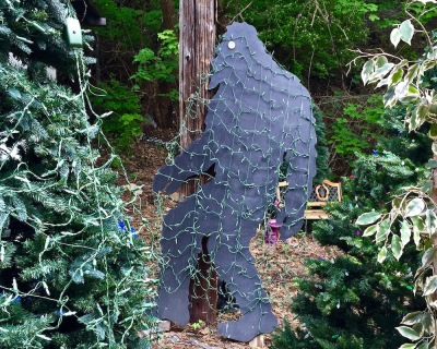 cut-out Big Foot figure wrapped in Christmas lights