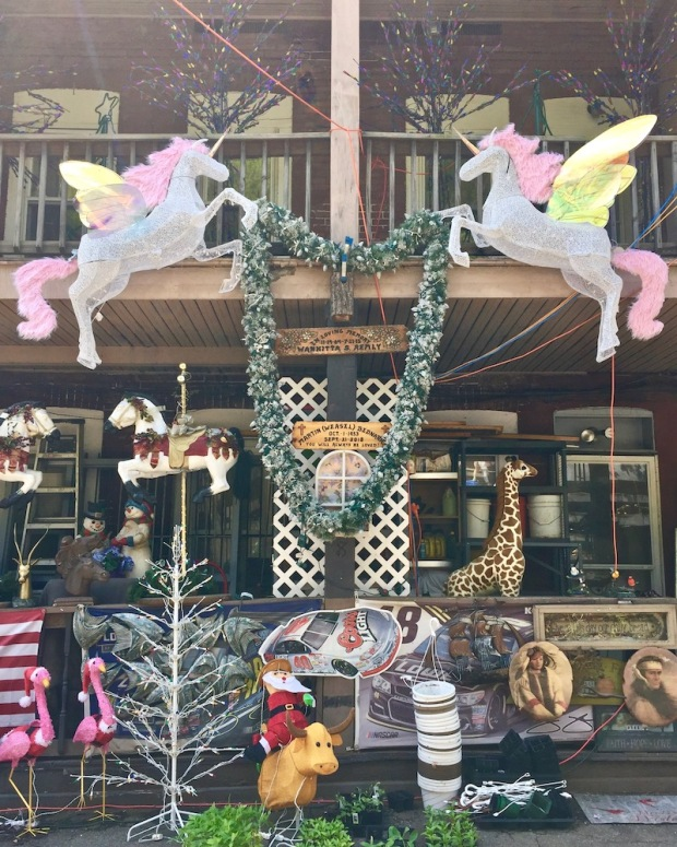 back porches of row house with elaborate decorations
