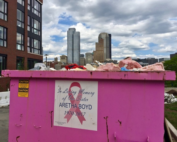dumpster painted bright pink with downtown Pittsburgh skyline in background