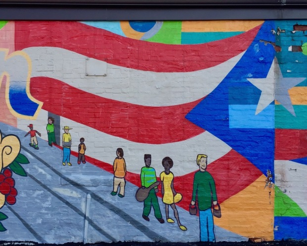 section of wall mural including American flag